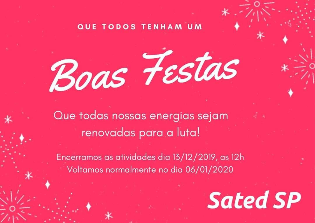 Recesso SATED – SP de 13/12/2019 a 04/01/2019