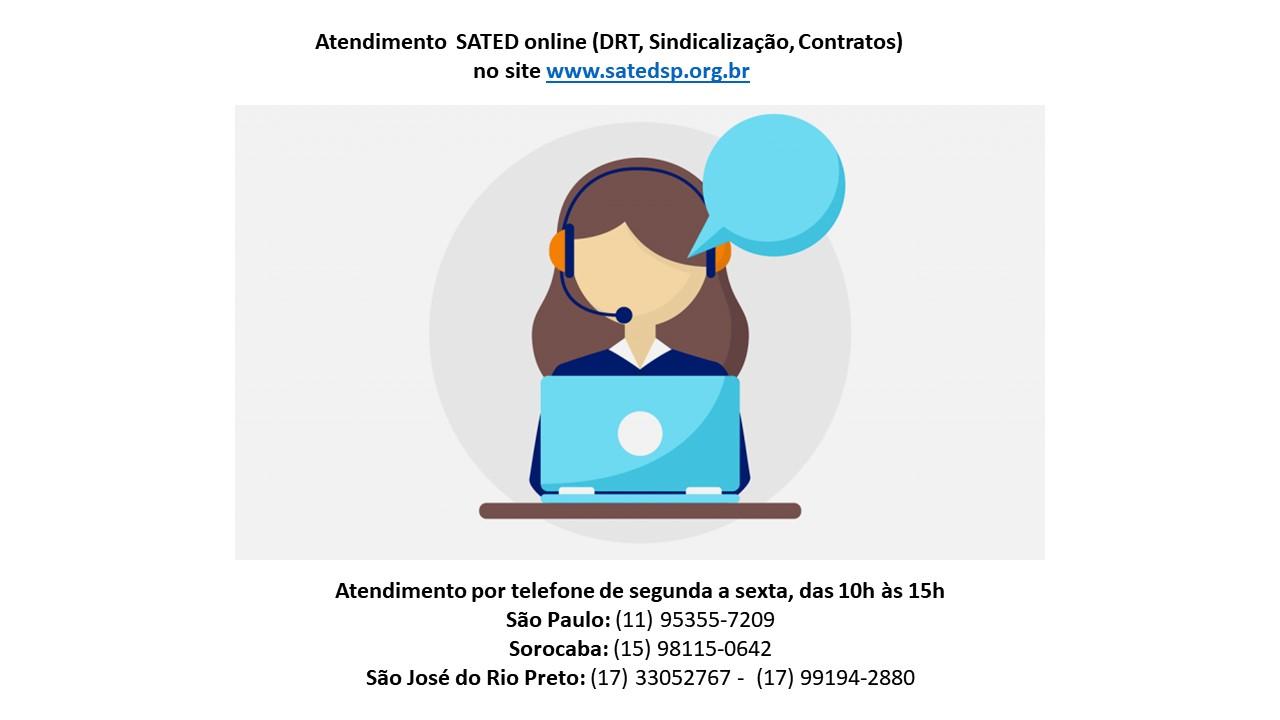 Atendimento Online SATED – SP para DRT/ Sindicalização/ Contratos/ Jurídico