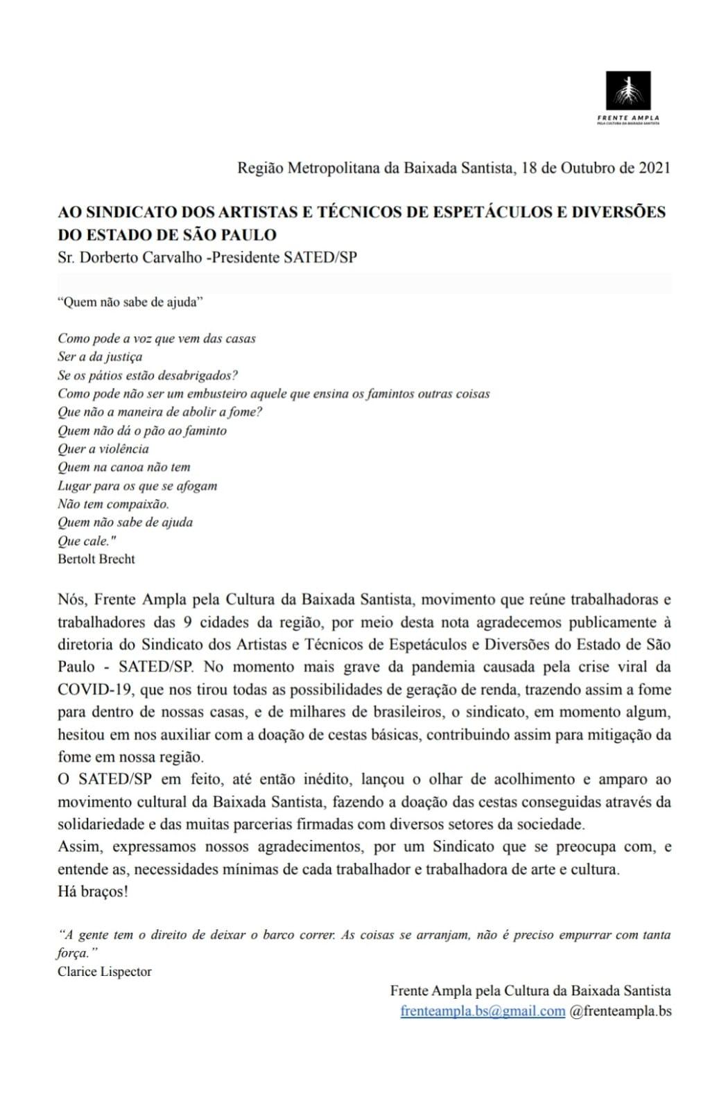 Carta da frente ampla pela cultura da Baixada Santista